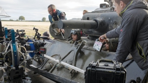 "The crew of ""Fury"" work on filming the complex tank sequences."